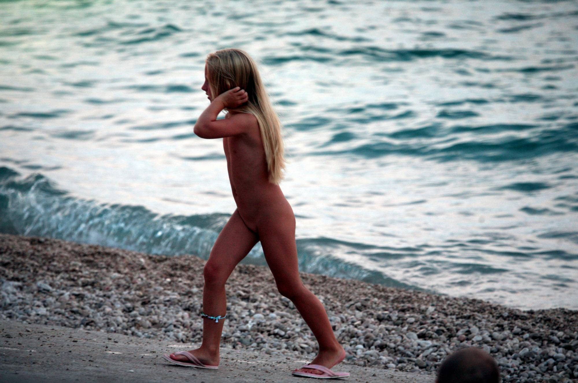 Naturist Blonde By Water - 2
